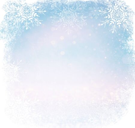 silver backgrounds: bokeh lights background with multi layers and colors of white silver and blue with snowflakes overlay Stock Photo