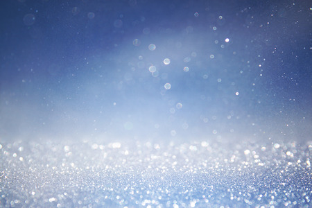 bokeh lights background with multi layers and colors of white silver, pink and blue Stock Photo