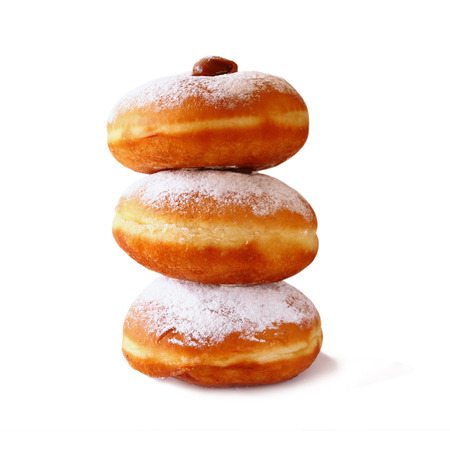 chanukah: image of donuts. isolated on white.