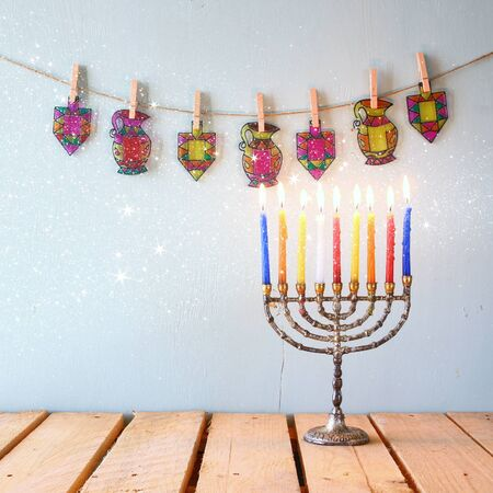 hanukka: image of jewish holiday Hanukkah with menorah traditional Candelabra