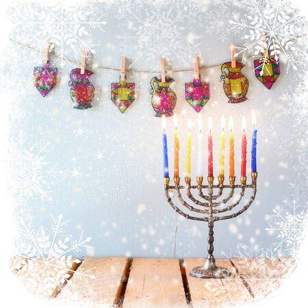 image of jewish holiday Hanukkah with menorah traditional Candelabra