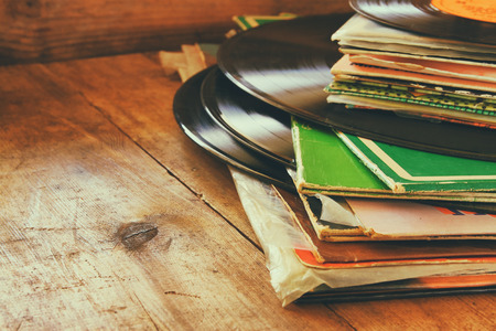 filtered: records stack and old record. vintage filtered