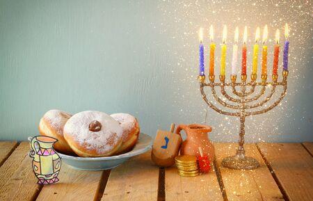 menora: image of jewish holiday Hanukkah