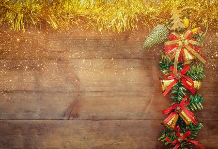 navidad navidad: image of christmas festive decorations on wooden background. retro filtered