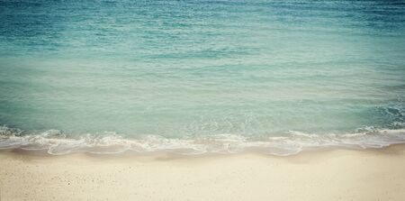 filtered: beach and sea landscape website banner design. retro filtered Stock Photo