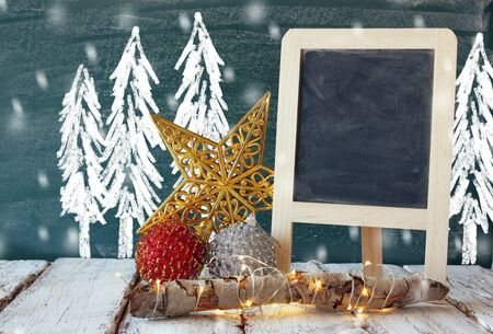drawings image: image of christmas decorations and chalkboard next to blackboard background with winter concept drawings