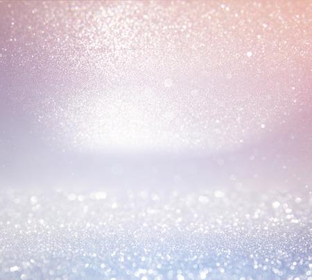 glitter vintage lights background. light silver, and pink. defocused. Banque d'images