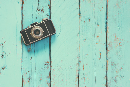 vintage photo: top view image of vintage old camera