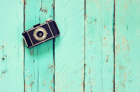 photography: top view image of vintage old camera