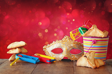 purim mask: Purim celebration concept jewish carnival holiday. selective focus Stock Photo