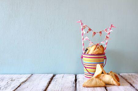 hamantaschen: Purim celebration concept jewish carnival holiday. selective focus Stock Photo