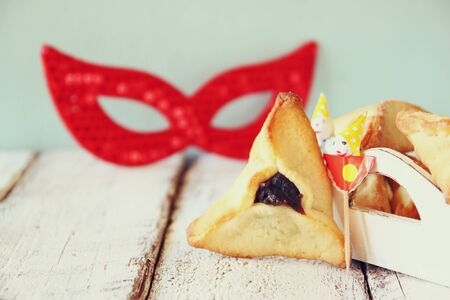 haman: Purim celebration concept jewish carnival holiday. selective focus Stock Photo