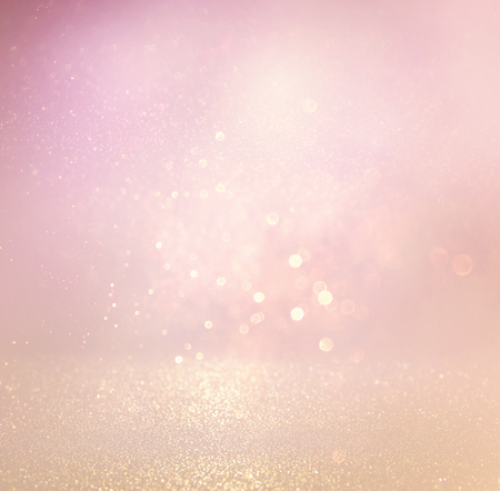 glitter vintage lights background. light silver, purple and pink. defocused. Stockfoto