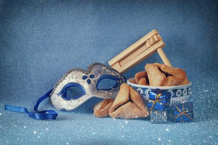 Purim Feier-Konzept jüdischen Karneval Urlaub. selektiven Fokus