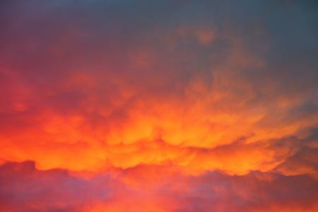 sunset sky: orange cloudy sunset sky
