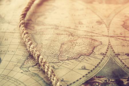 tresure: image of nautical rope on vintage map Stock Photo