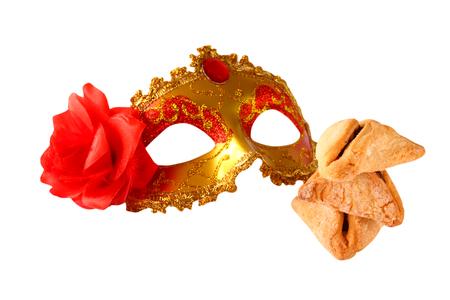 hamantashen: Purim celebration cookies jewish carnival holiday. selective focus. isolated on white