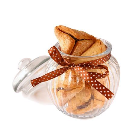 hamantash: Purim celebration cookies jewish carnival holiday. selective focus. isolated on white
