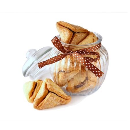 hamantash: Purim celebration cookies jewish carnival holiday. selective focus. isolated on white