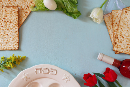 Pesah celebration concept jewish Passover holiday with wine and matza