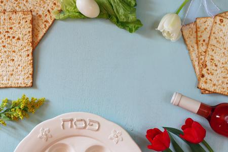 Pesah celebration concept jewish Passover holiday with wine and matza