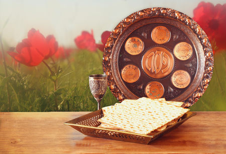 matzot: Pesah celebration concept jewish Passover holiday with wine and matza