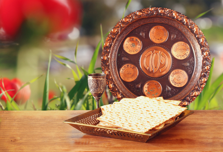 pesakh: Pesah celebration concept jewish Passover holiday with wine and matza