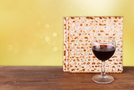 matza: Pesah celebration concept jewish Passover holiday with wine and matza