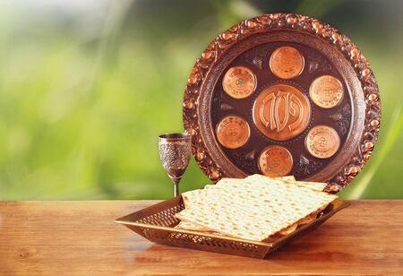 kosher: Pesah celebration concept jewish Passover holiday with wine and matza