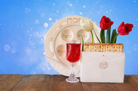 pesakh: Pesah celebration concept jewish Passover holiday with wine and matza