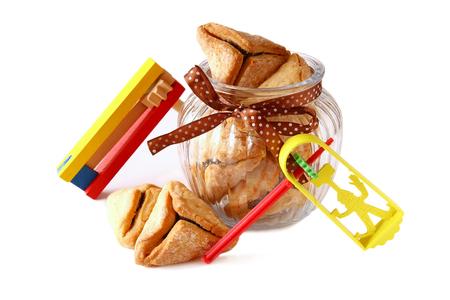 noisemaker: Purim celebration concept jewish carnival holiday. selective focus. isolated on white Stock Photo