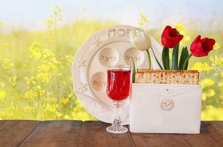 pan y vino: Pesah concepto de la celebración de la Pascua judía vacaciones