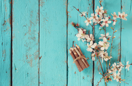cherry blossom: image of spring white cherry blossoms tree next to wooden colorful pencils on blue wooden table. vintage filtered image