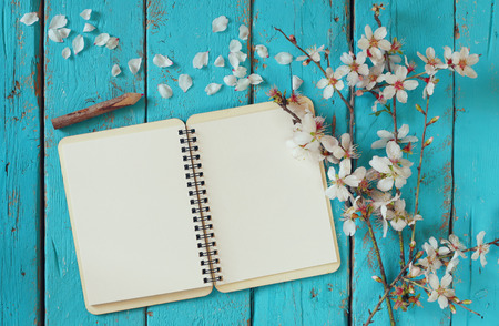 trompo de madera: top view image of spring white cherry blossoms tree, open blank notebook next to wooden colorful pencils on blue wooden table. vintage filtered and toned image Foto de archivo
