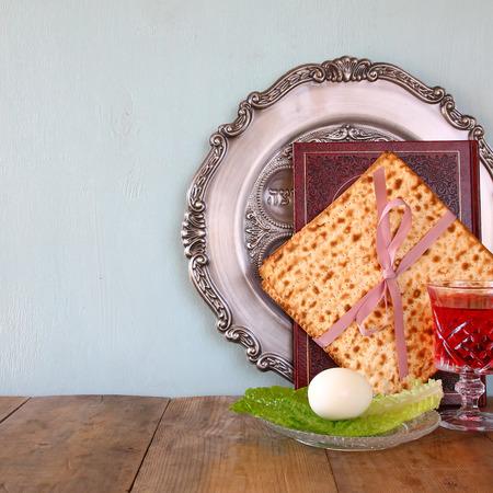pesah: Pesah celebration concept jewish Passover holiday with wine and matza