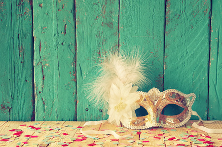 Venetian masquerade mask. selective focus. vintage filtered
