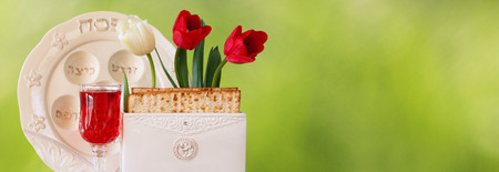 jewish food: website banner background of Pesah celebration concept jewish Passover holiday Stock Photo