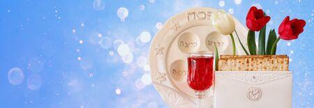 matzoth: website banner background of Pesah celebration concept jewish Passover holiday Stock Photo