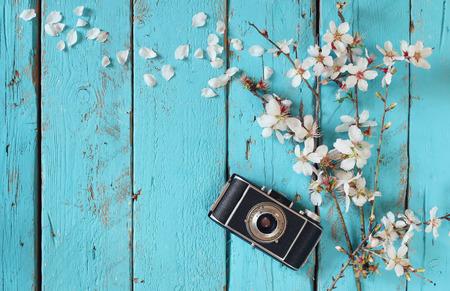 Imagen de la visión superior del muelle blanco de las flores de cerezo árbol al lado de la cámara vieja en mesa de madera azul Foto de archivo
