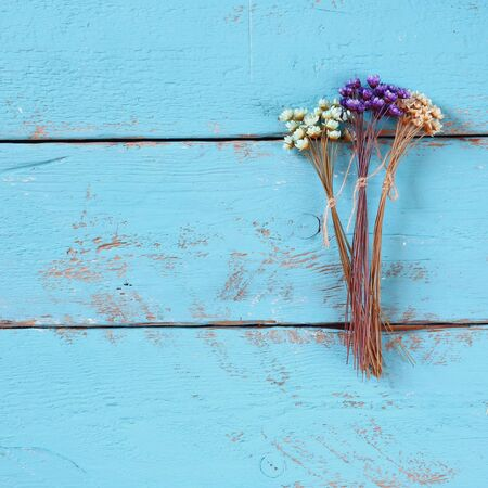 trompo de madera: top view image of dried colorful flowers on old blue wooden background Foto de archivo