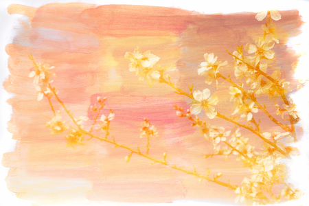 multiple exposure: abstract double exposure image of spring flowers and watercolor texture