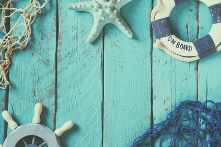 view on sea: top view nautical concept with nautical life style objects. vintage filtered and toned