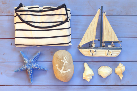 vintage objects: top view nautical concept with nautical life style objects. vintage filtered