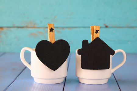 life style: couple of cups of coffee and little chalkboards Stock Photo