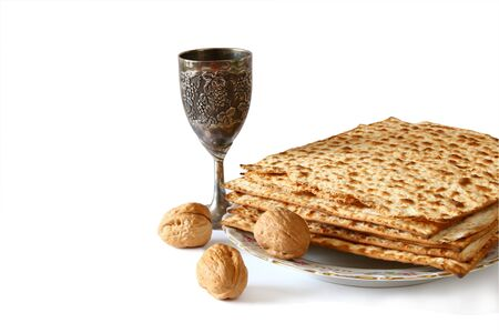 jewish food: Pesah celebration concept (jewish Passover holiday). isolated on white