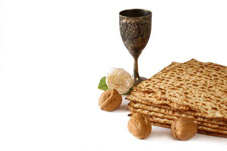 pesakh: Pesah celebration concept (jewish Passover holiday). isolated on white