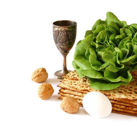 jewish background: Pesah celebration concept (jewish Passover holiday). isolated on white