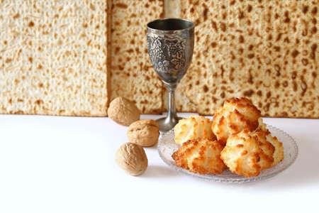 passover: Pesah celebration concept (jewish Passover holiday). isolated on white