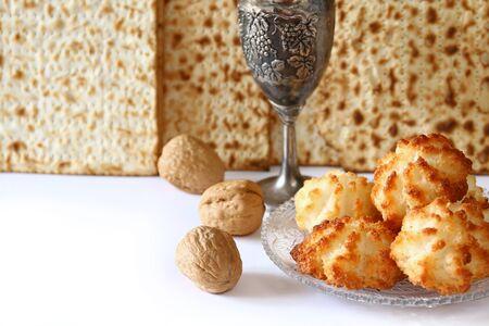 matzoth: Pesah celebration concept (jewish Passover holiday). isolated on white