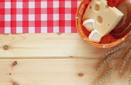 image of dairy products on wooden background.